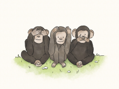 Three monkeys asking how do I get kids to listen