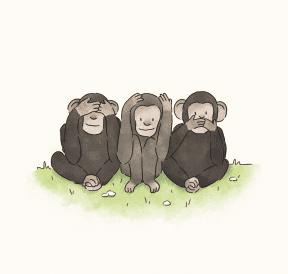 Three monkeys asking how do I get kids to listen