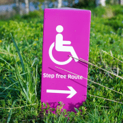 No steps sign for group activities suitable for people with disabilities. Credit Yomex Owo