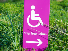 No steps sign for group activities suitable for people with disabilities