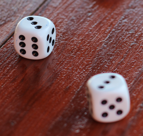 Two white dice to play fun table activity. Photo credit: Lea Bohm