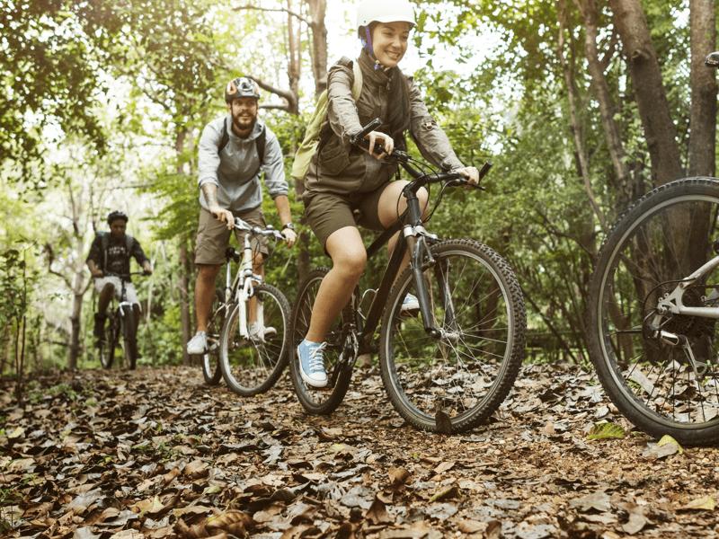 Mountain biking in the outdoors