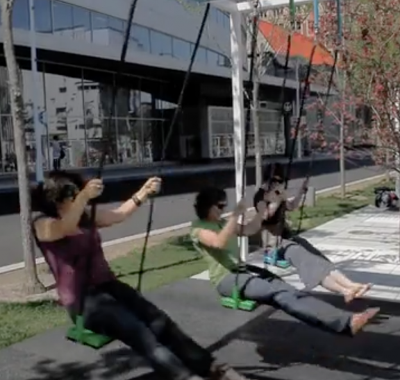 musical co-operation by groups of young people on swings