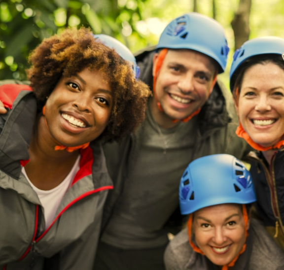 Adults in climbing helmets suggesting can you choose freely
