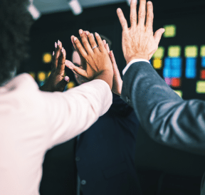 Set of high-5s representing truths behind success in business