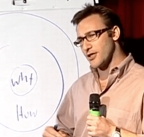 Simon Sinek presenting his TED Talk Start By Asking Why