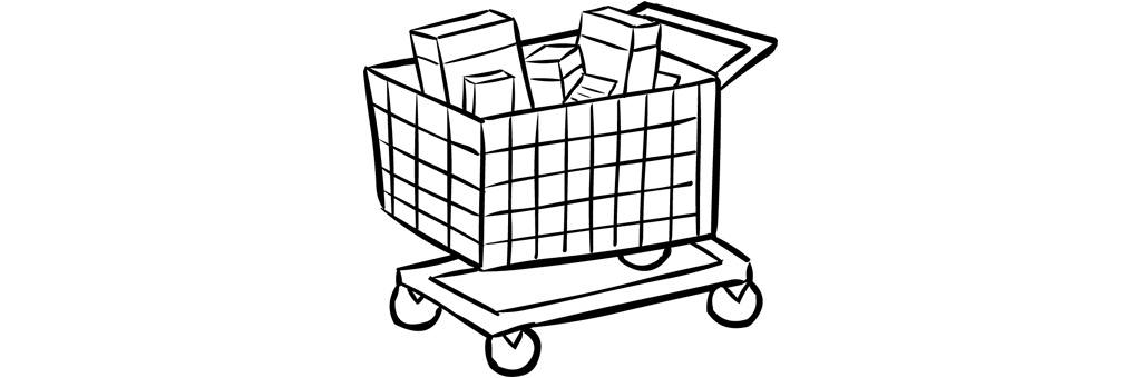 Shopping trolley or shopping cart filled with products