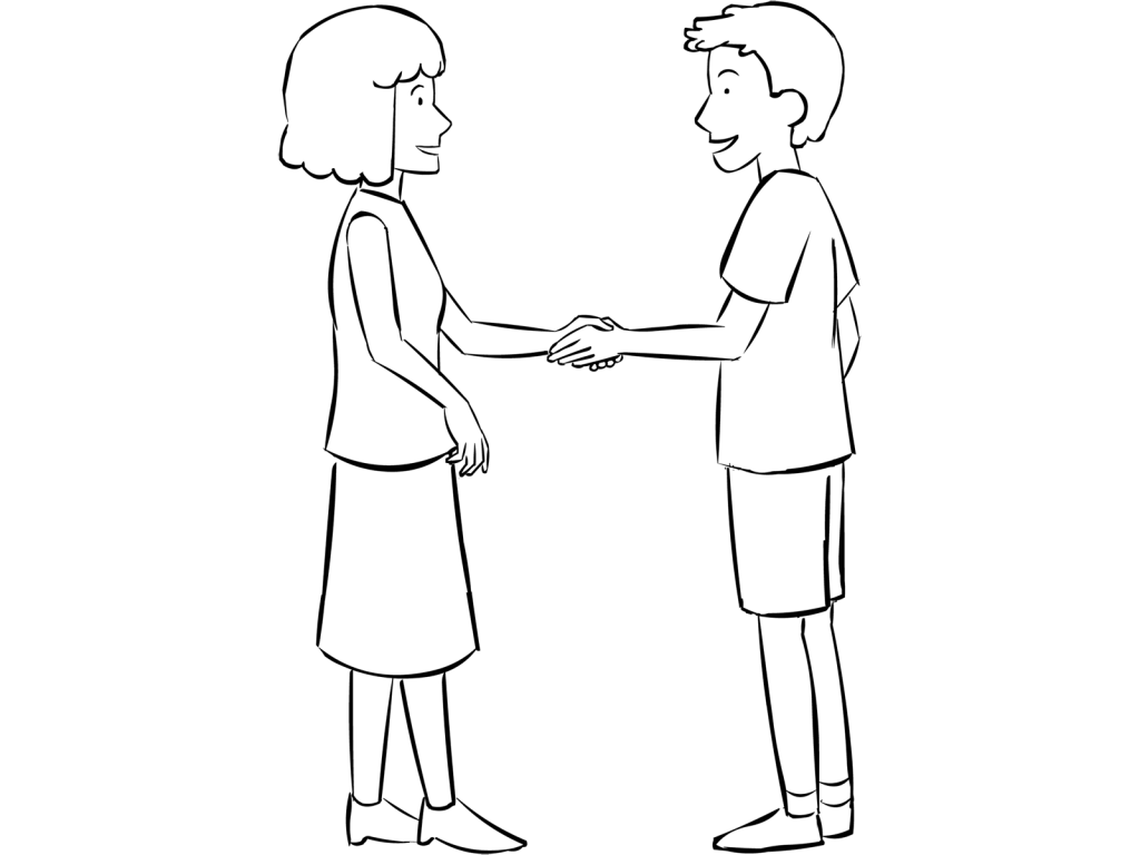 Two people shaking hands in fun name game called Me You You Me