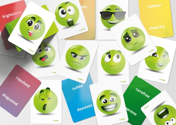 Scattered EMOJI Cards on display