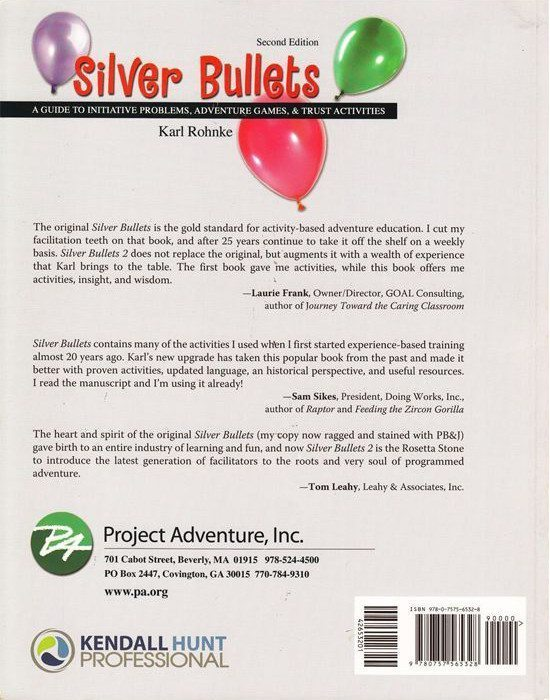Back cover of Silver Bullets: 25th Anniversary edition, by Karl Rohnke