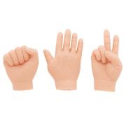 Three hands depicting rock-paper-scissors variation