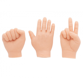 Three hands depicting rock-paper-scissors variation