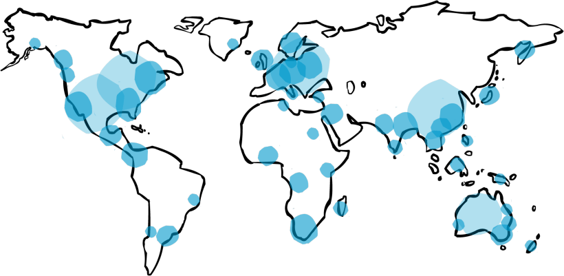 Map of the world featuring the largest gathering of playmeo subscribers