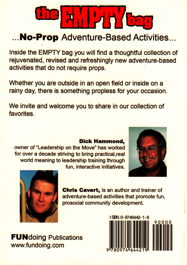 Back cover of The Empty Bag book by Chris Cavert and Dick Hammond