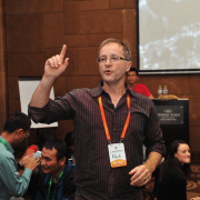 Mark Collard presenting a facilitator training workshop in China