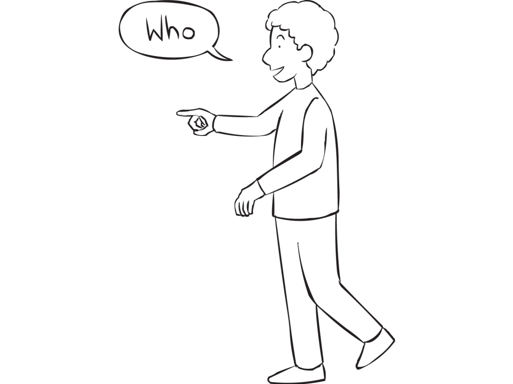 Man pointing to another person asking Who are they.