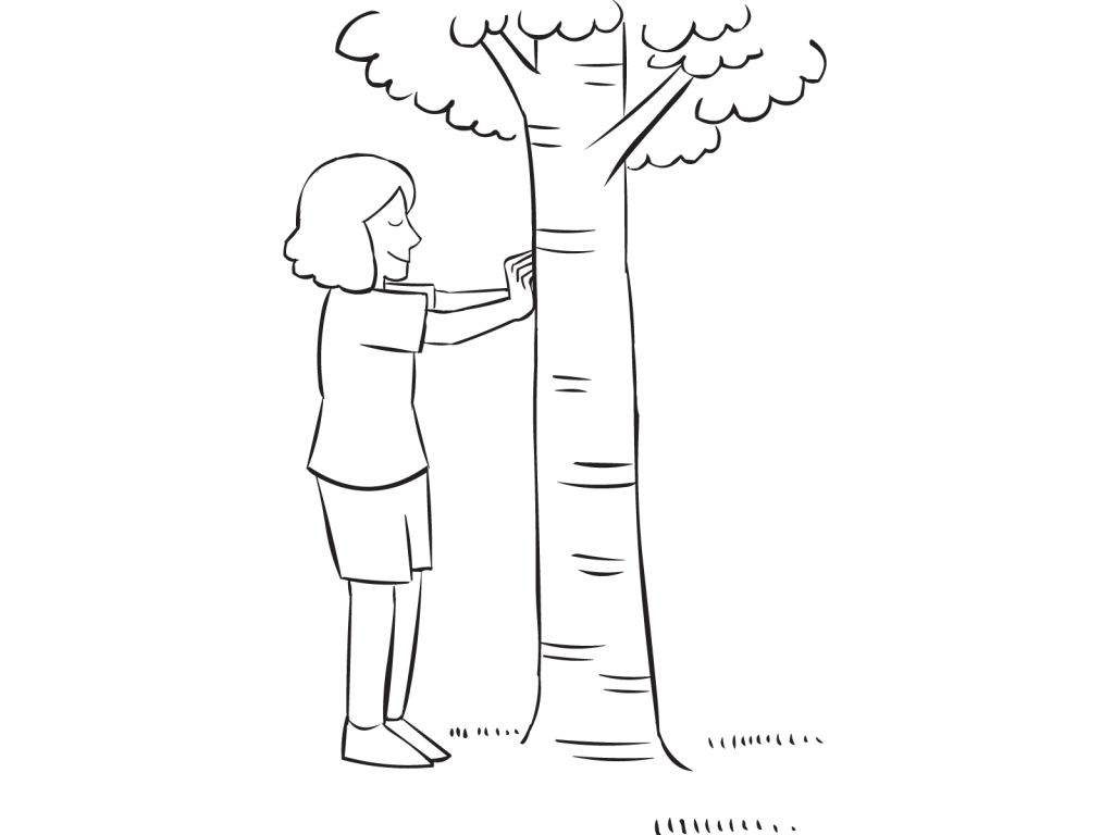 Woman touching a tree with eyes closed, as seen in Hug A Tree trust exercise
