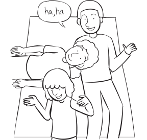Three people lying with heads on each other's stomachs, playing Don't Laugh at Me game