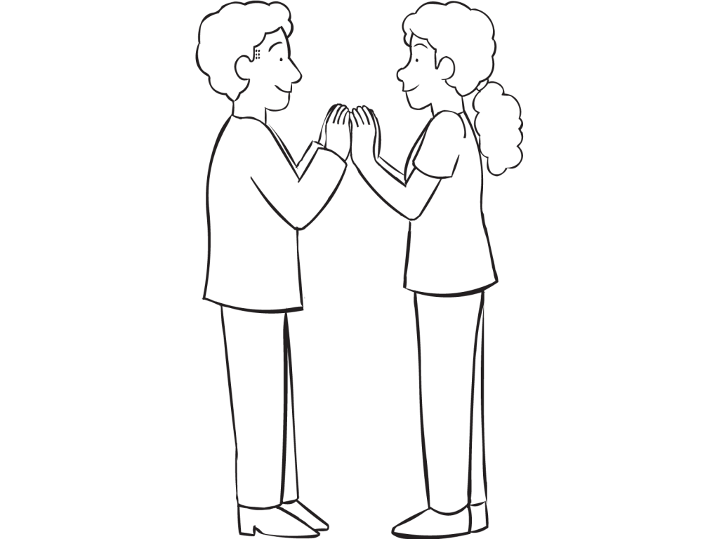 Two people facing each other with palms touching, as starting position for fun partner game called Palm Off