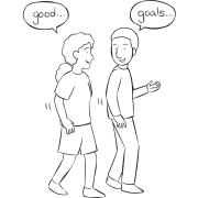 Two people talking to each other and reflecting on Three G Debrief reflection exercise