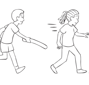 Man chasing a woman with a boffer playing a fun tag game called Swat Tag