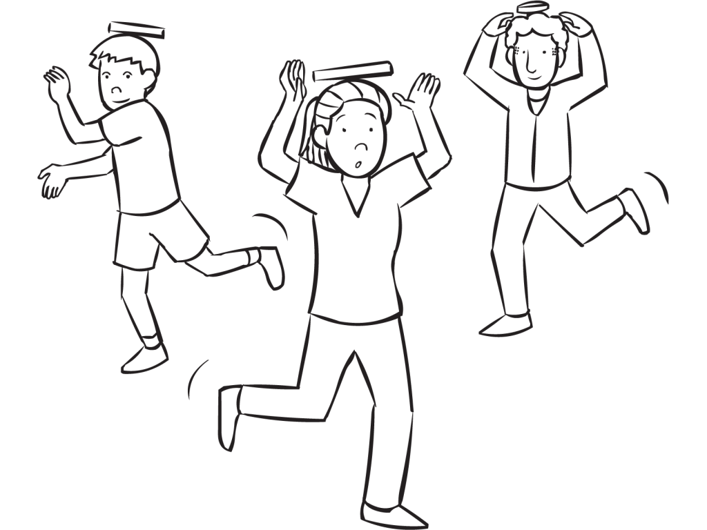 Three people with books on their heads playing Deportment Tag