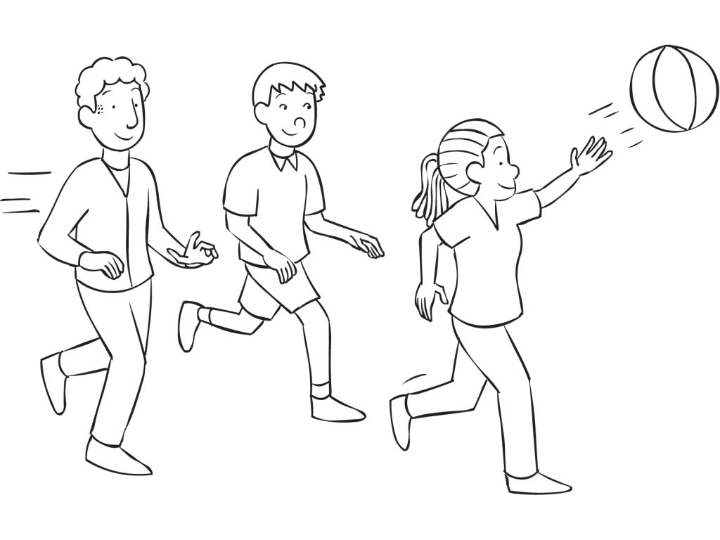 Three people running and hitting a beachball in the air, playing energizer, warm up games Striker