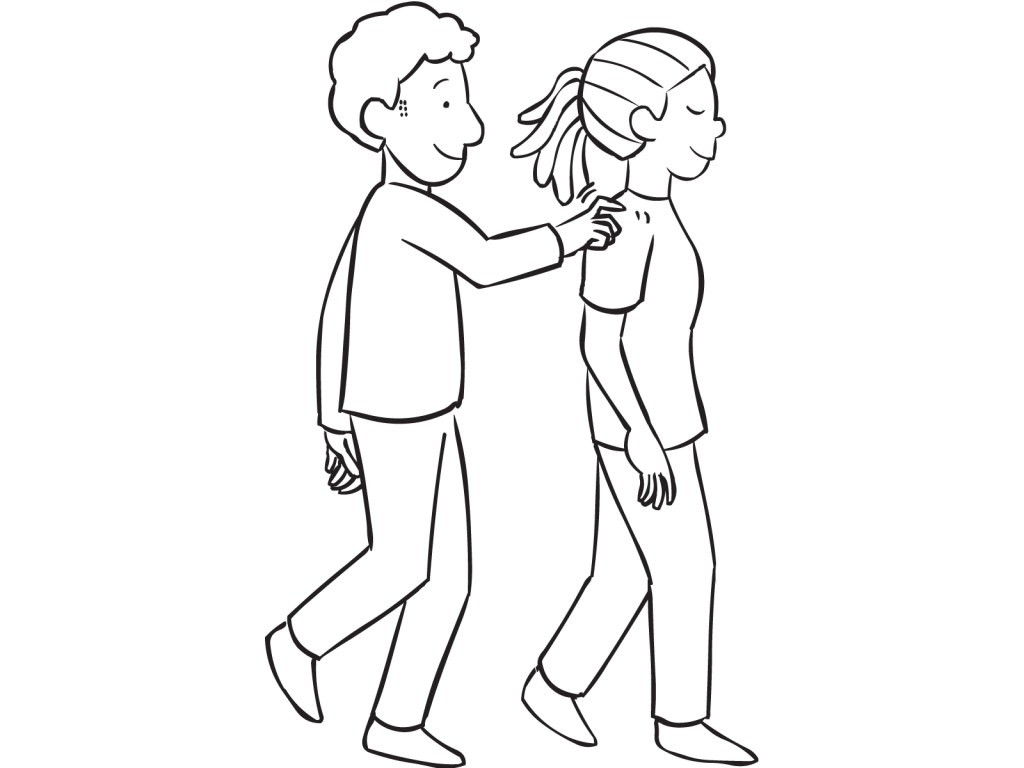 Man tapping woman on shoulder as part of fun partner game called Robot Walk