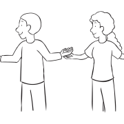 Two people in a circle with hands on top of their partners playing Down By The Banks energiser