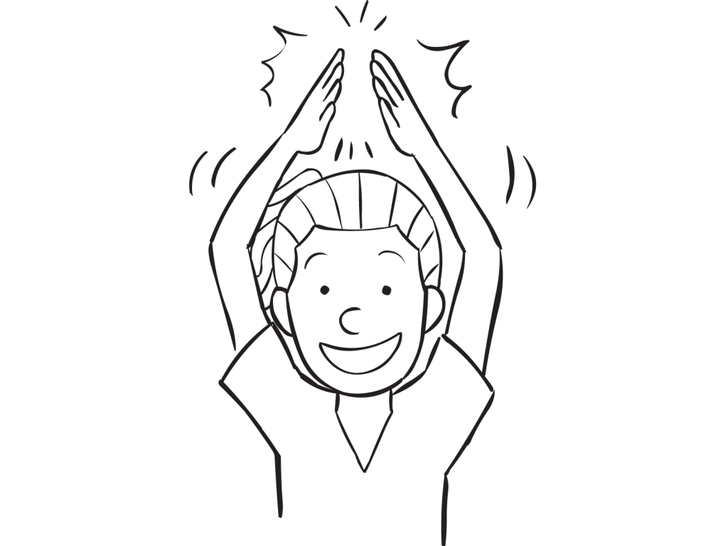 Woman clapping her hands above her head in game of One-Two-Three