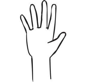 One hand with outstretched fingers, as seen in Fist to Five debrief