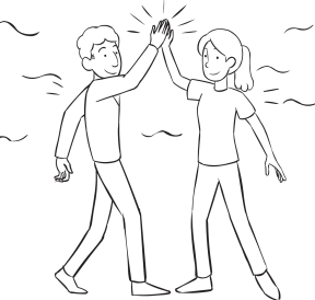 Two people giving each other a High-5, as part of ice-breaker called Crosstown Connections