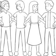 Four people standing in line with interlocked elbows, as part of Making Connections ice breakergame