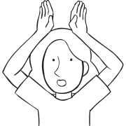Person holding two hands above head as if they were rabbit ears, as played in Superiority game