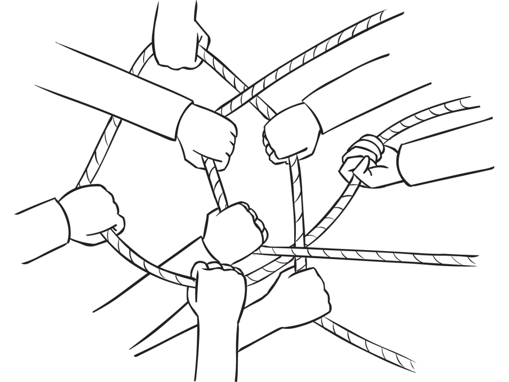 Group of hands holding onto a cross cross of ropes as part of group initiative Knot My Problem