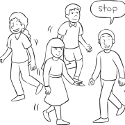 Four people moving about an area with one person saying Stop as part of energiser Walk & Stop