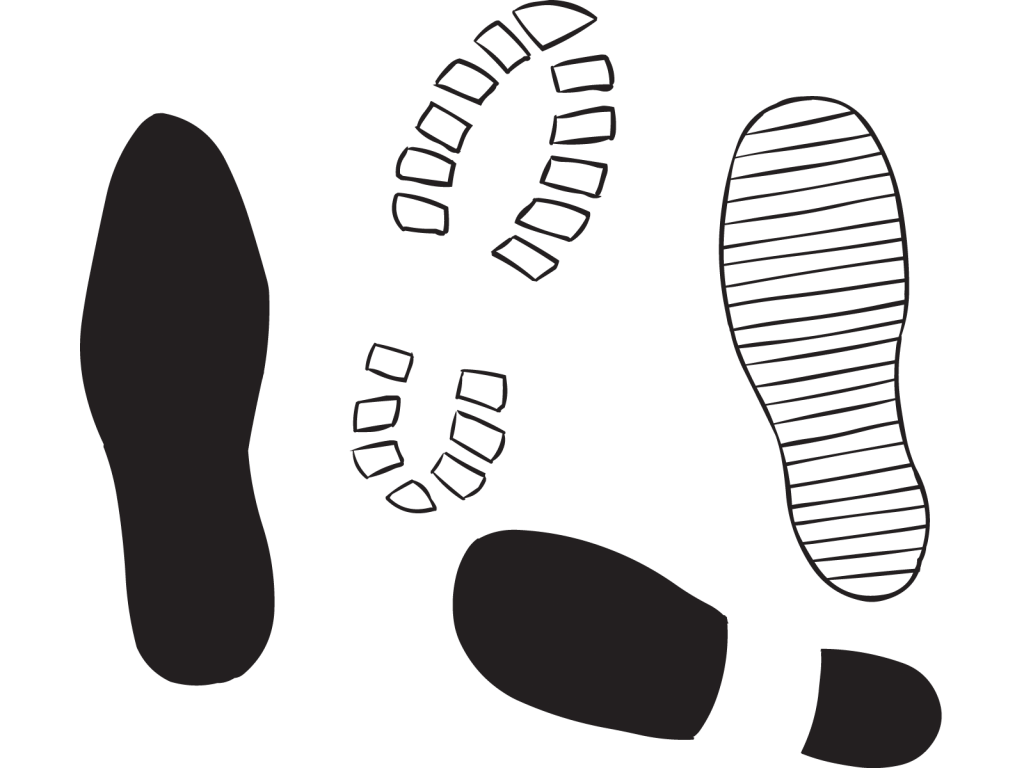 Tread patterns for four different types of shoes as seen in Sole Mate pairing exercise