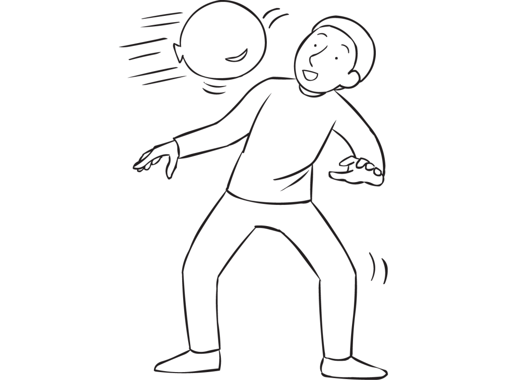 Man avoiding being hit by a balloon as seen in Balloon Propulsion Greetings energiser activity