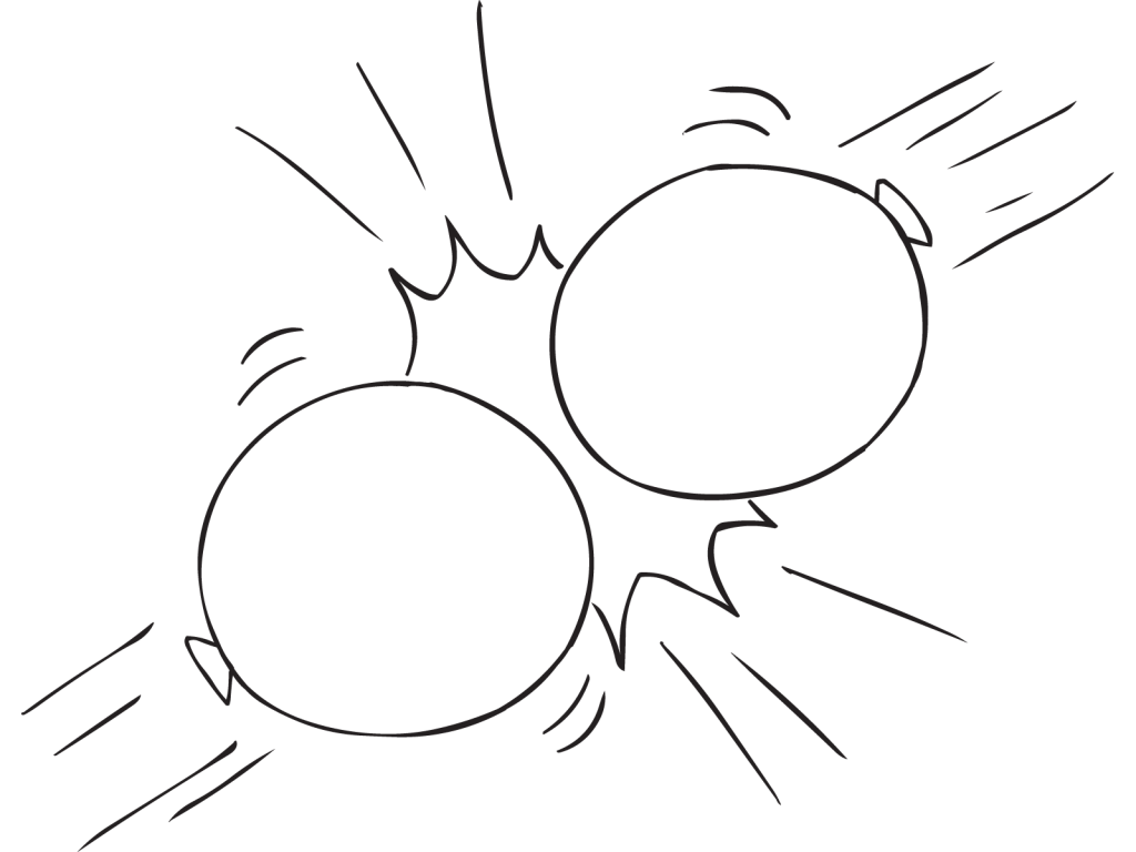 Two balloons hitting each other as part of Balloon Propulsion Debrief