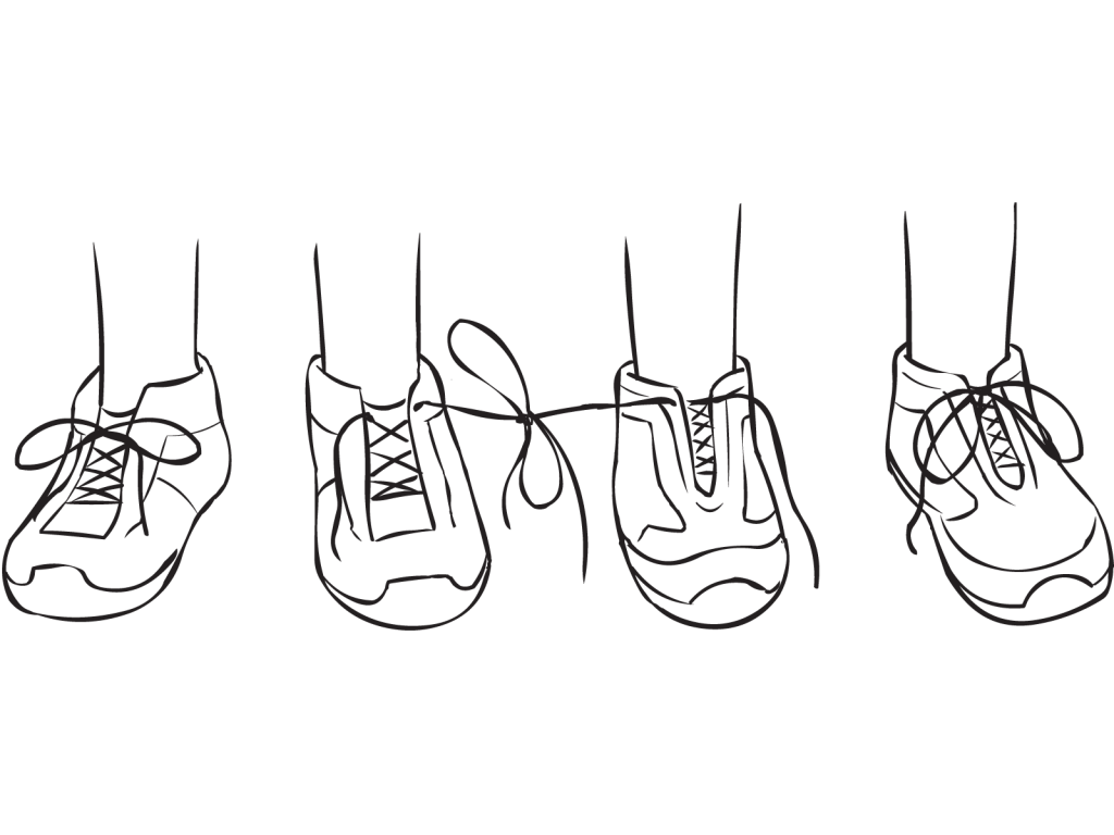 Two pairs of shoes with laces of two shoes tied together, as featured in fun partner get-to-know-you game called Tiny Teach