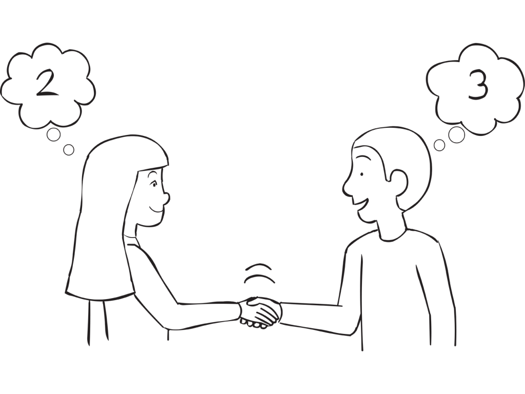 Two people shaking hands thinking of different number, as seen in Physic Handshake ice-breaker and random group-splitting exercise