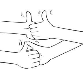 Two sets of hands gripped in a fun Thumb Wrestling energiser game