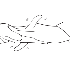 Two hands with interwoven fingers create what is called a fun energiser called Wiggle Waggle