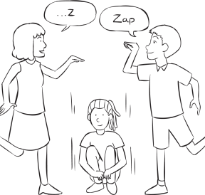 Three people playing fun circle elimination game called Zip Zap