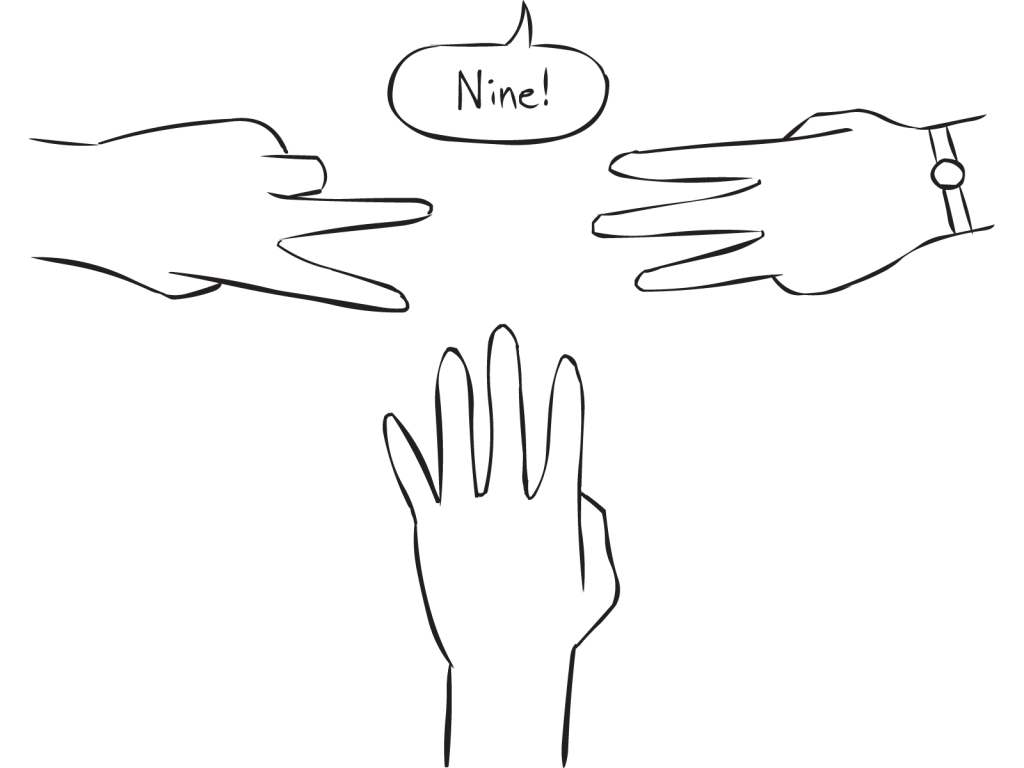 Three hands with outstretched fingers as featured in small group mathematics energiser called 1-2-3-4
