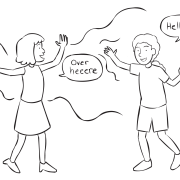 Two people excited to greet one another in energiser called Train Station Greetings game
