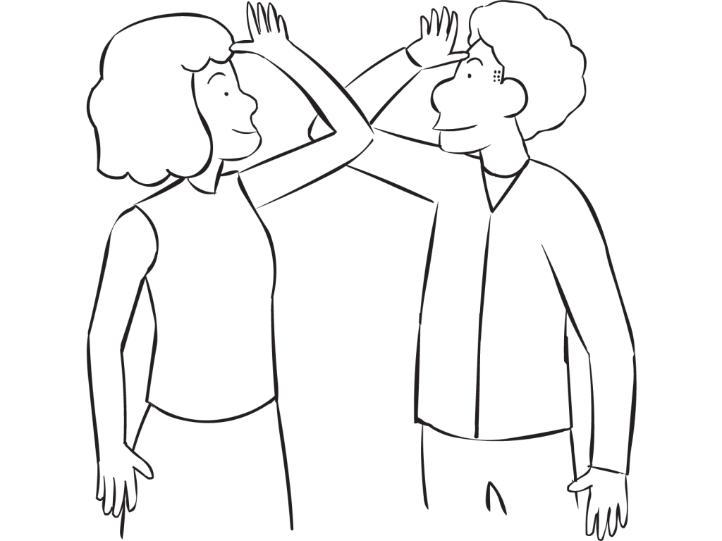 Two people touching elbows as part of fun large group energiser and warm-up called People to People