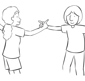 Two people holding hands playing a quick energiser game called Finger Fencing