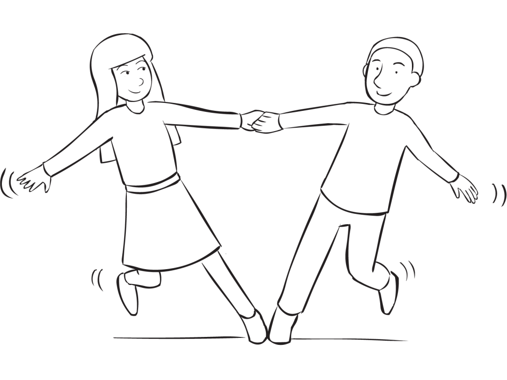 Two people holding hands and leaning away from each other as part of series of fun partner stretches called Star Stretch