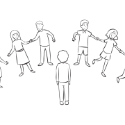 Group of people holding hands and moving quickly as part of Quick Line-Up energiser